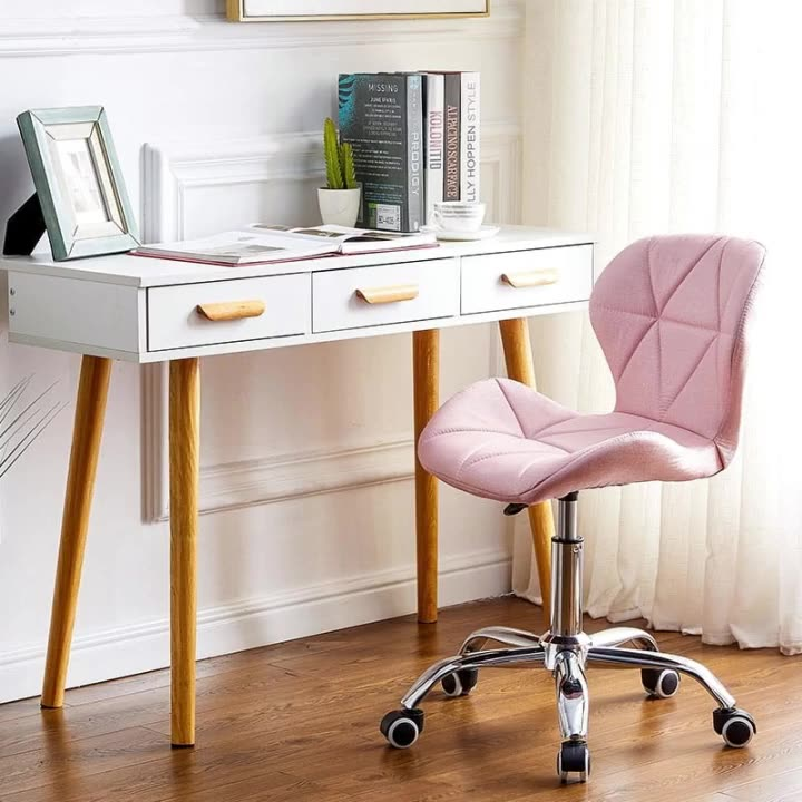 เฟอร์นิเจอร์ห้องนอนราคาถูกหมุนโต๊ะเก้าอี้Sillas Giratoriasสำนักงานคอมพิวเตอร์หมุนเก้าอี้แต่งหน้าสีชมพูโต๊ะเครื่องแป้งเก้าอี้ที่มีล้อ