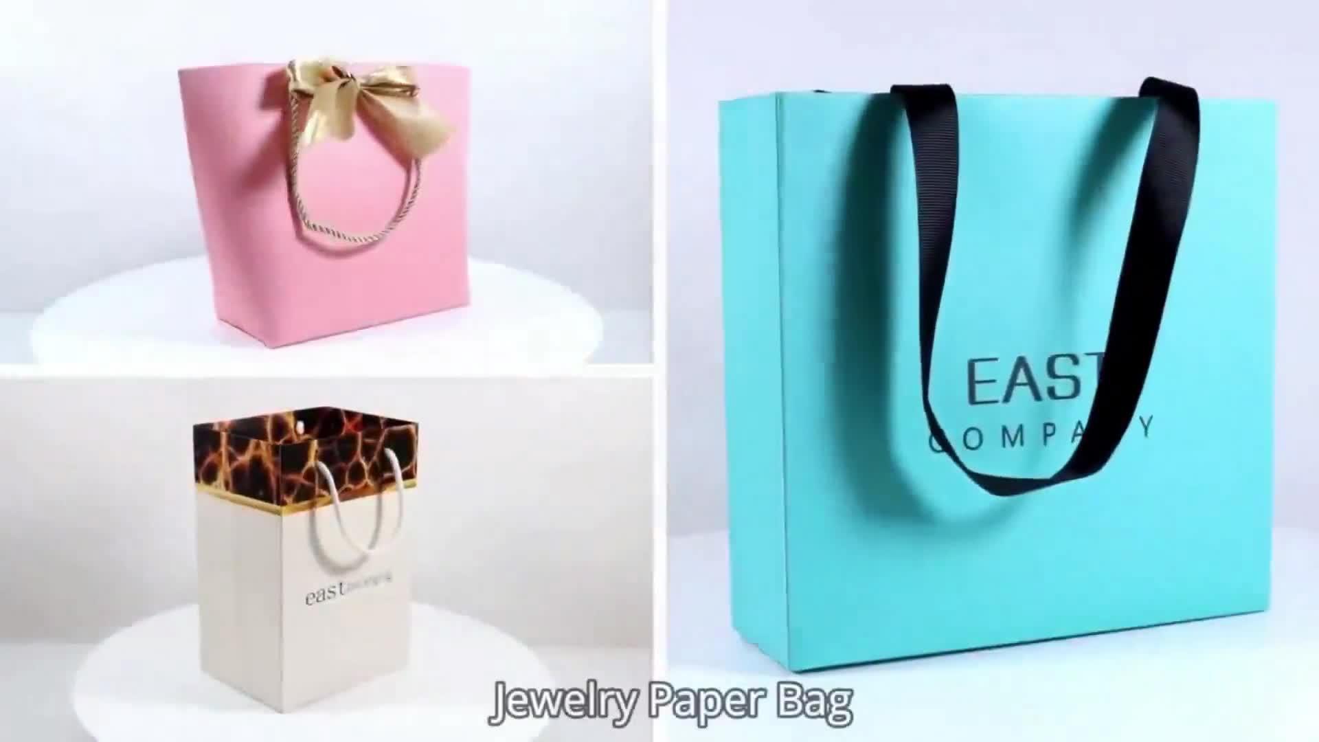 Moda Zarif Lüks Alışveriş Özel Logo Tasarım Baskı Takı Hediye Paketleme Kağıt Torbalar