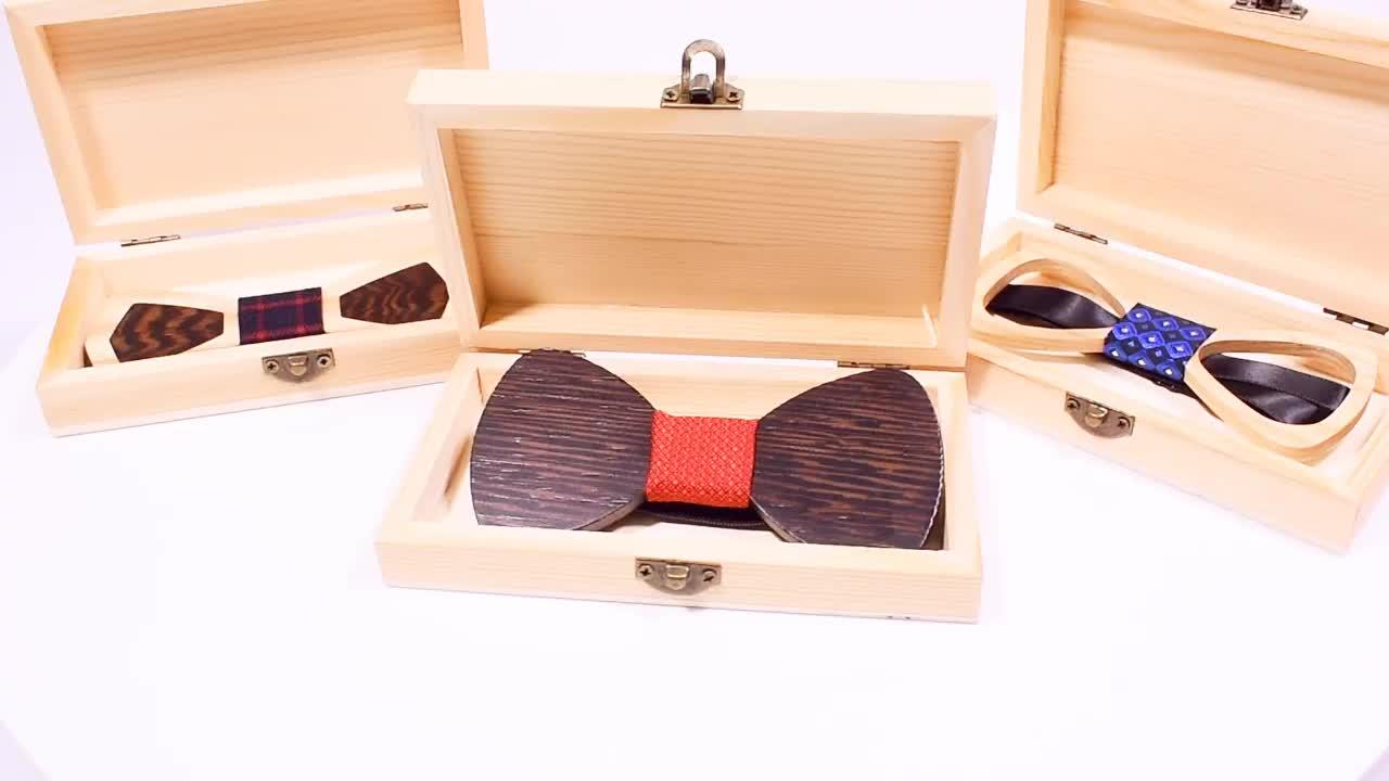 New Design Mens Pocket Square Wooden Bow Tie Set