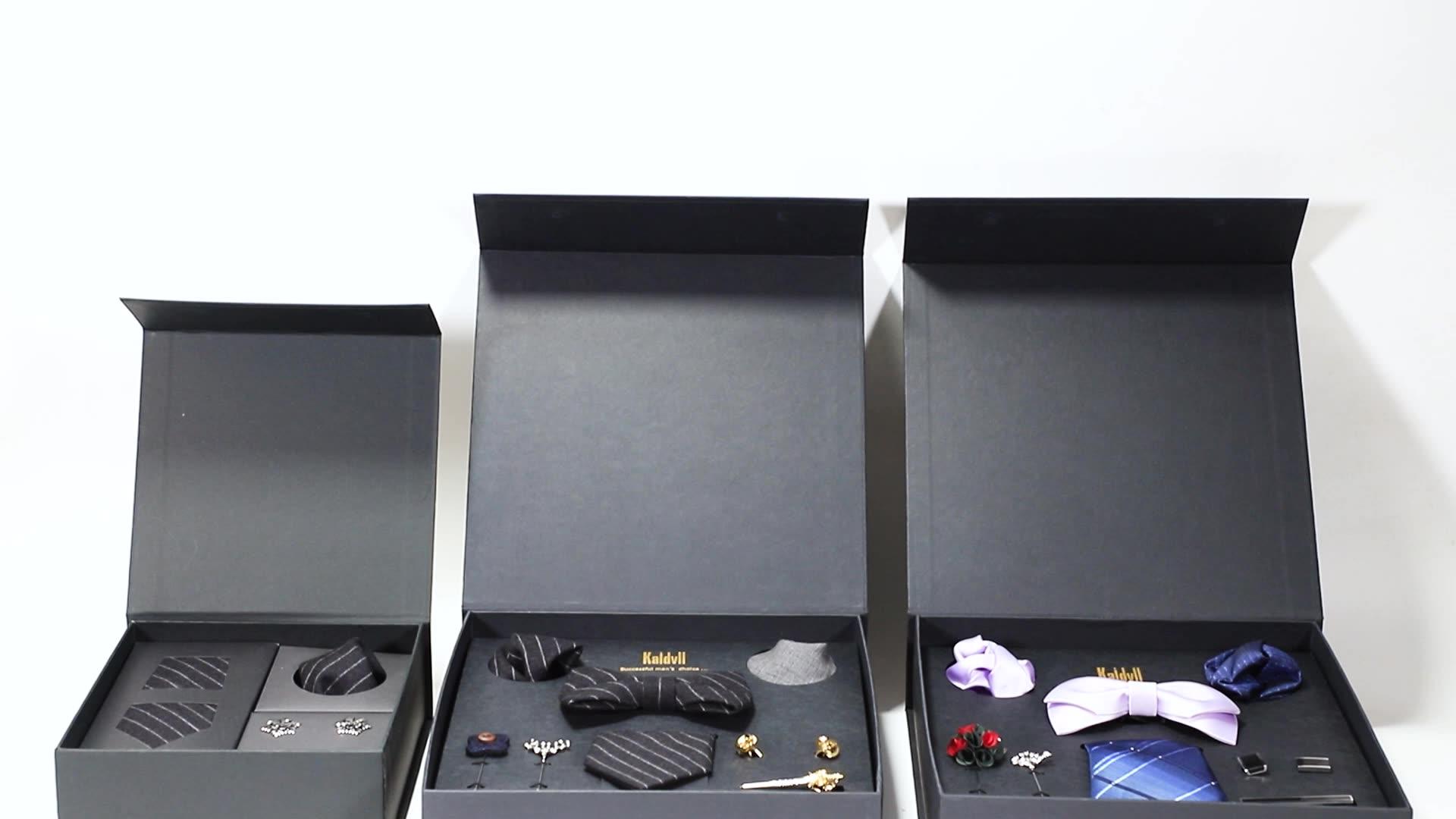 High-grade Mens Skinny Ties and Pocket Squares Black Paisley Tie Gift Set Box for Men