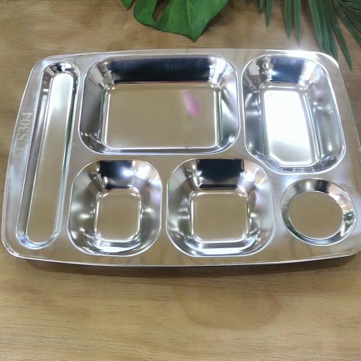 Di alta qualità in acciaio inox SUS304 scuola vassoio del pranzo cinque scomparti vassoio di fast food ristorante piatti della cena