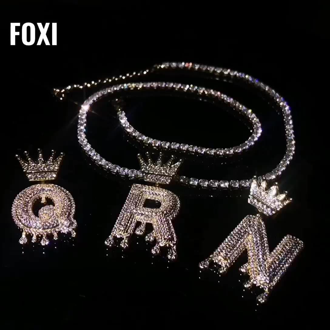Mewah Huruf Awal dengan Gagak Desain Pribadi Perhiasan Kalung Rantai Emas