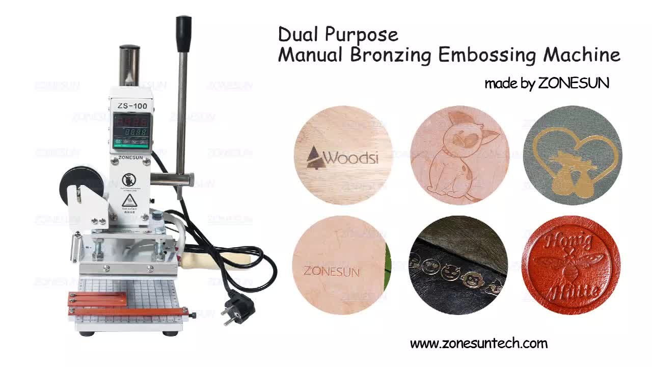 ZONESUN ZS-100 Manual Hot Foil Stamping Machine Heat Press Machine Leather Embossing Machine