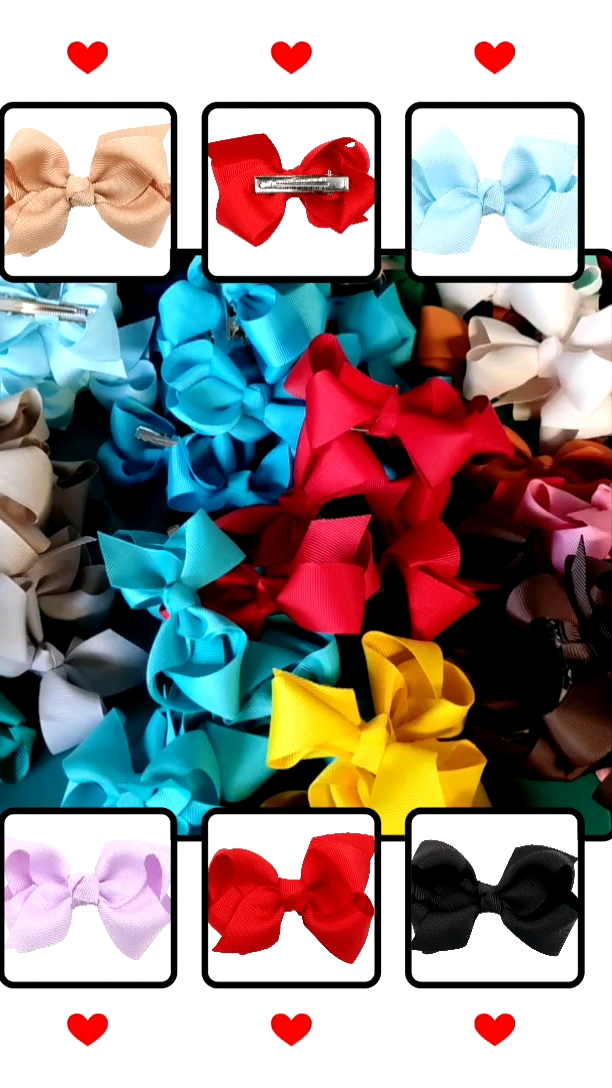 25 Bulk Ribbon Hair Bows For Girls Pure Color 3 Inch