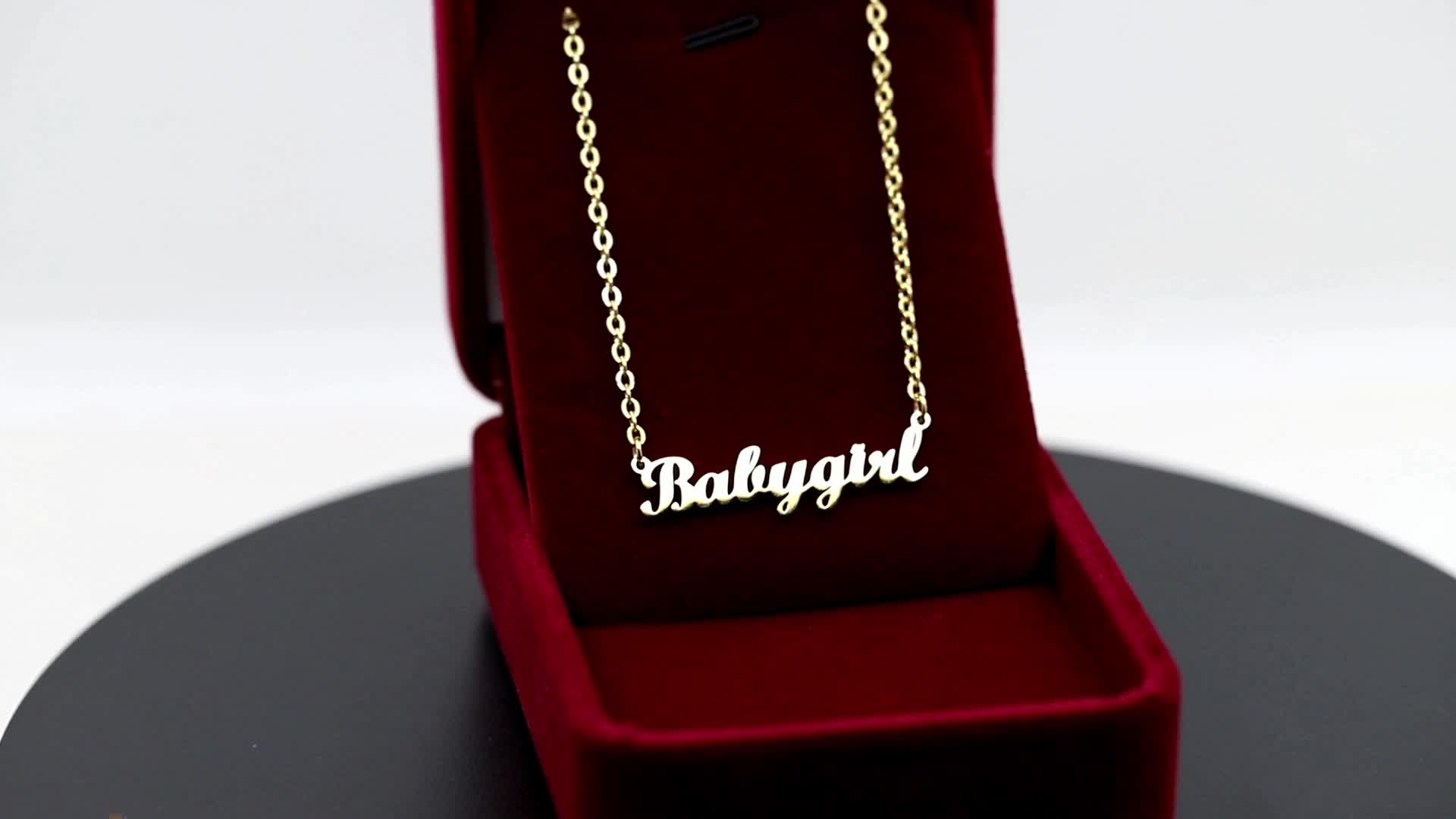 Wholesale Jewelry 14k 18k 24k My Personalised Letter Pendant Silver Custom Stainless Steel Personalized Gold Name Plate Necklace