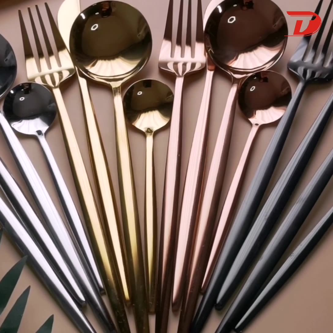 24 Piece Cutlery Set Flatware Spoon and Forks Knives, Black Stainless Steel Gold Cutlery 24pcs Set