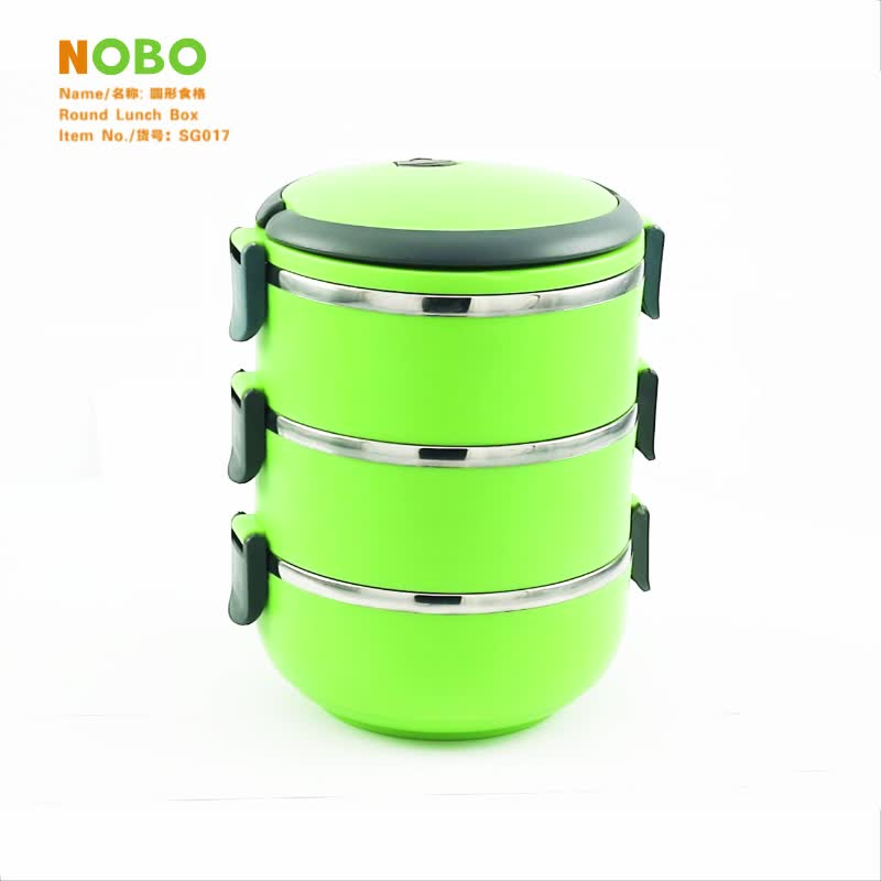 Wholesale price clear round bento lunch box plastic outside 304 stainless steel food container with lid