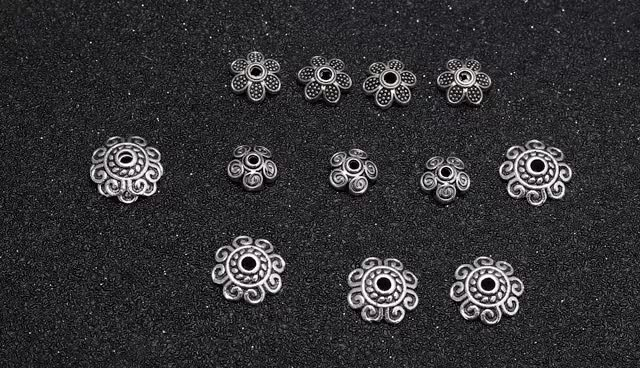 Factory price metal sterling silver flower bead end tassel caps beads for jewelry making
