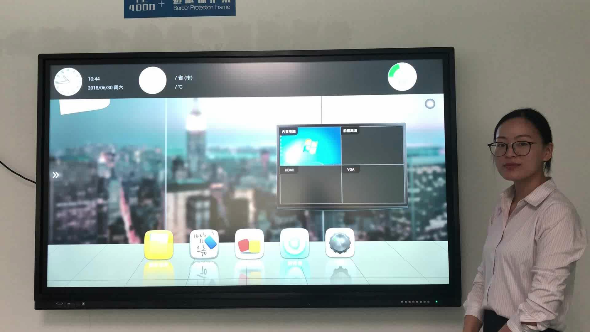 """4K Monitör İnteraktif Düz Panel Dokunmatik Ekran Smart TV 65 '' 75 """"70 '' 84 '' Eğitim için LED etkileşimli dokunmatik ekran"""