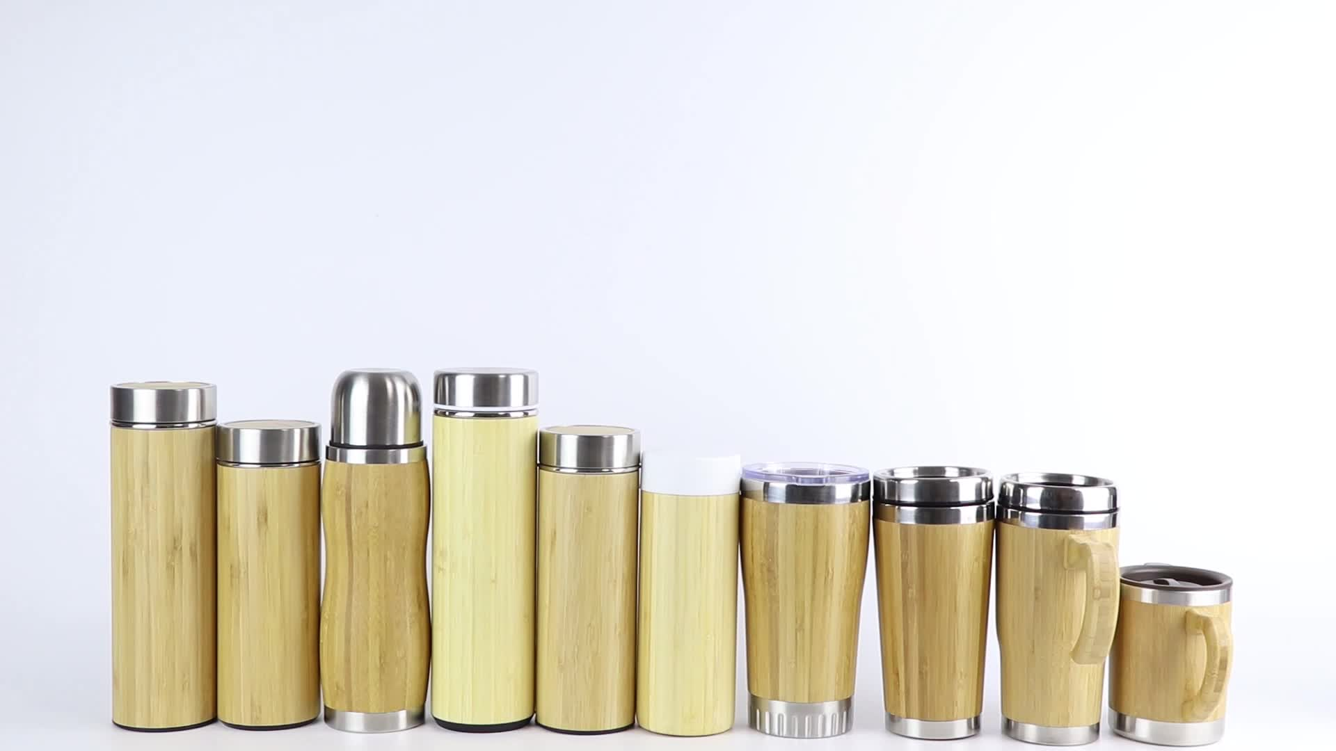 450ml 530ml Double Wall Vacuum Insulated Bamboo Travel Tumbler with Mesh Filter for Loose Leaf Detox Brew and Fruit Infusions