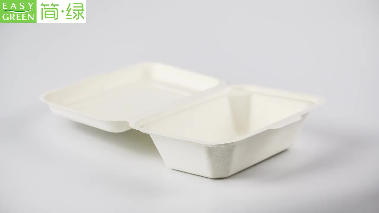 Easy Green Factory Competitive Price Wholesale Airtight Disposable Catering Lunch Biodegradable Clamshell Food Container
