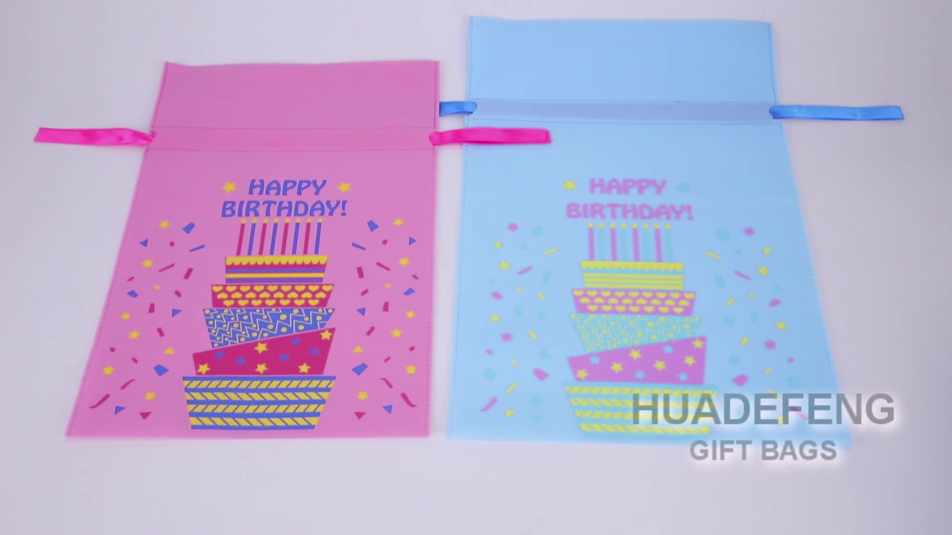 Wholesale Cheap Custom Small Happy Birthday Party Non Woven Gift Bags For Kids