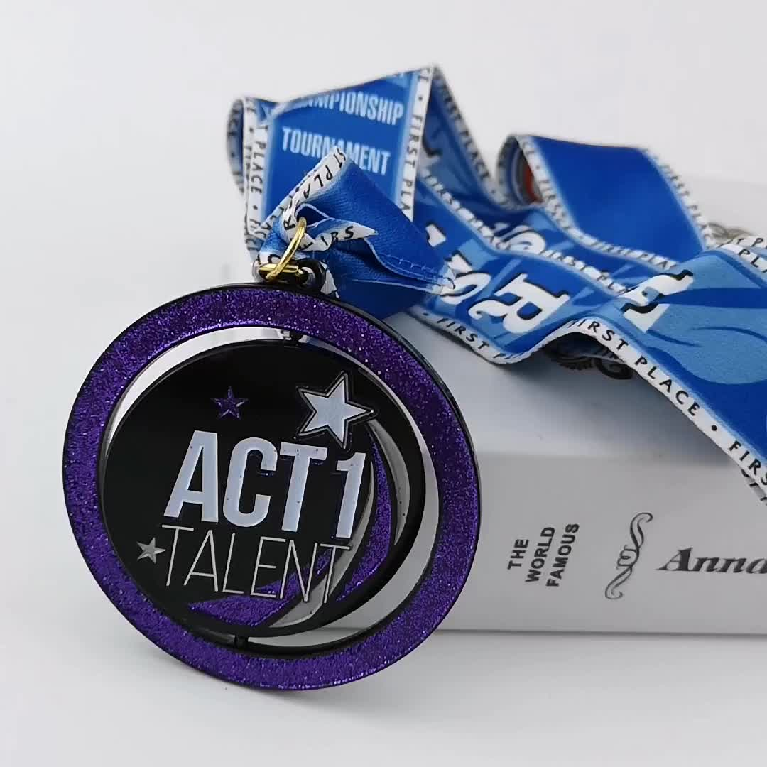 Custom Ribbon Zinc Alloy Black Nickle 7cm Metal Dance Star Spinning Glitter Medal