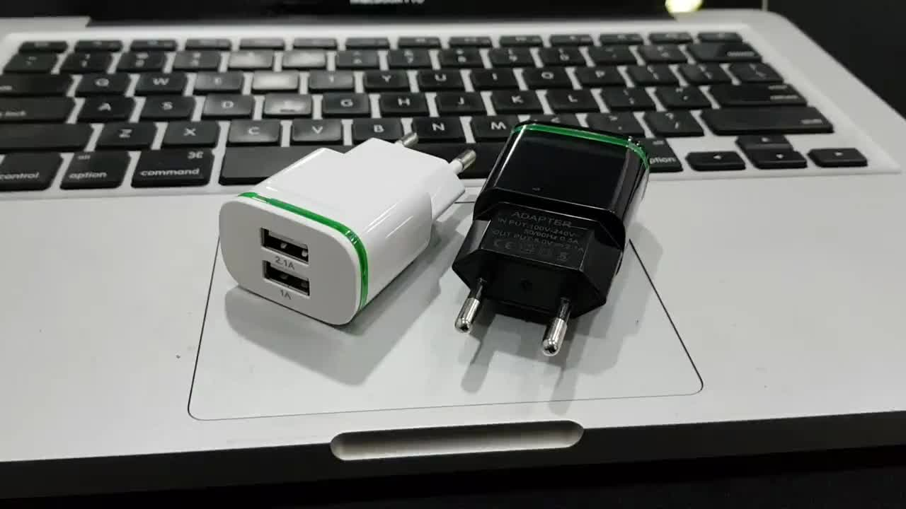 2020 Newest Mobile Phone Accessories OEM Logo US EU Plug 2.1A Dual Home Travel Usb Wall Charger