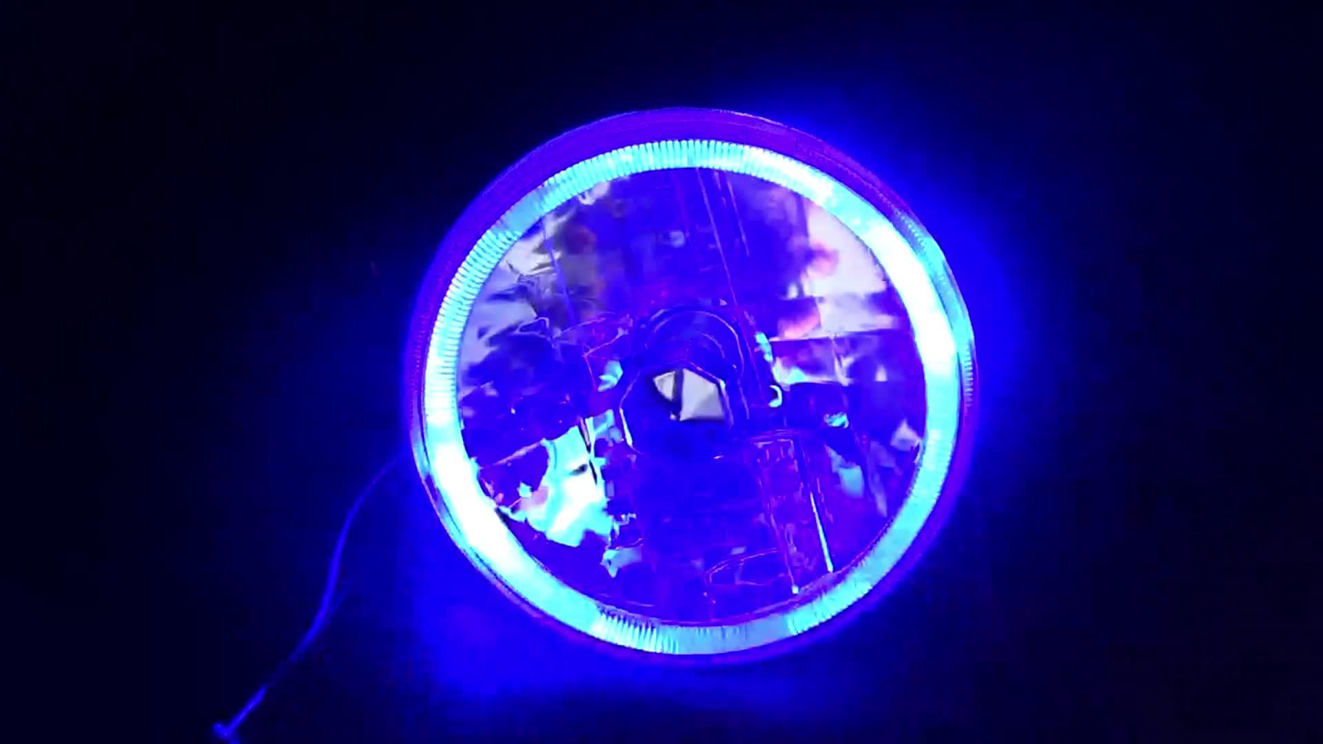 """7 """"Round H4 Conversão Lente De Vidro Cristal de Halo Led Faróis Lâmpadas Set Chrome"""