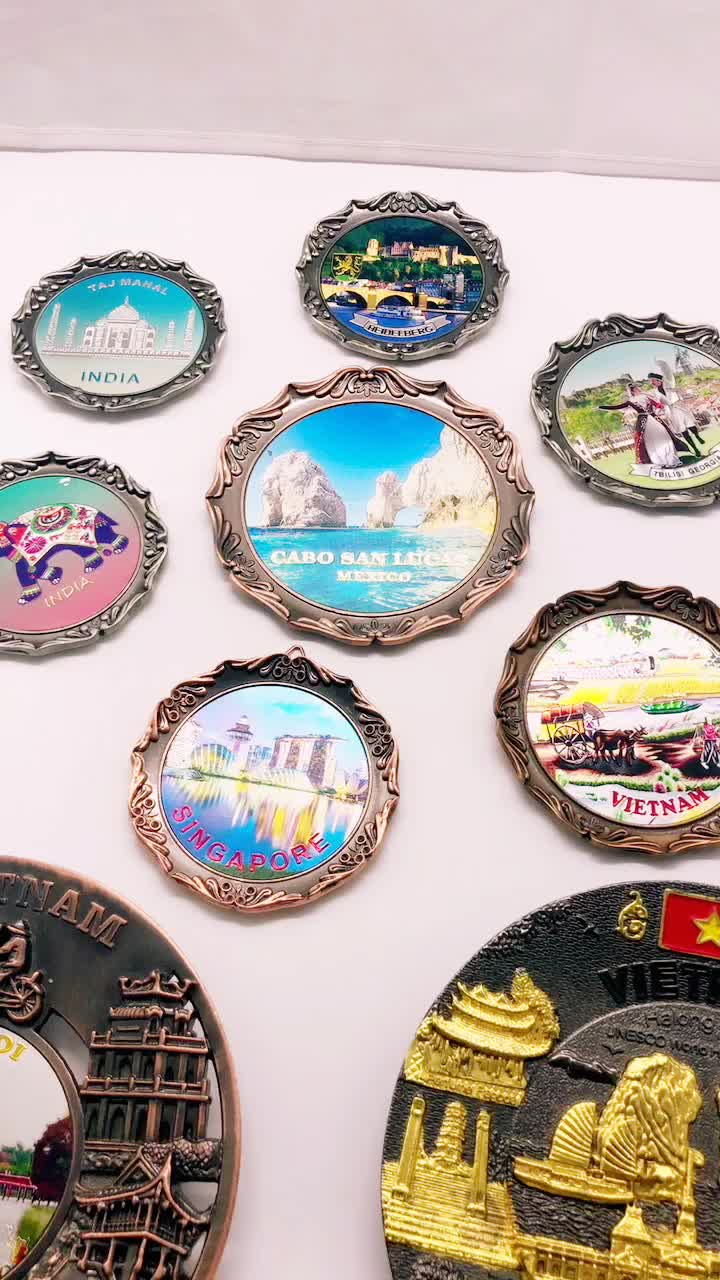 Top Selling Country Tourist Souvenirs Art and Collectible Plates Metal Round Trays Brass Plate