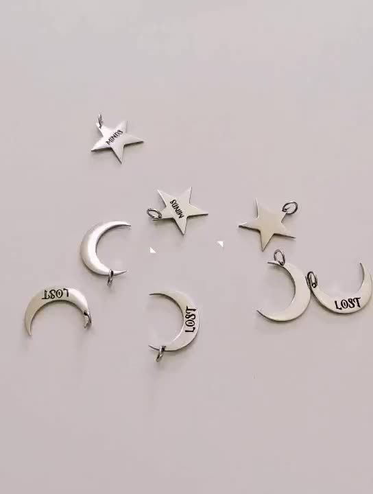 Custom 316L Stainless Steel Jewelry Half Circle Moon Shaped Gold Silver Personalised Moon Bracelet Charm