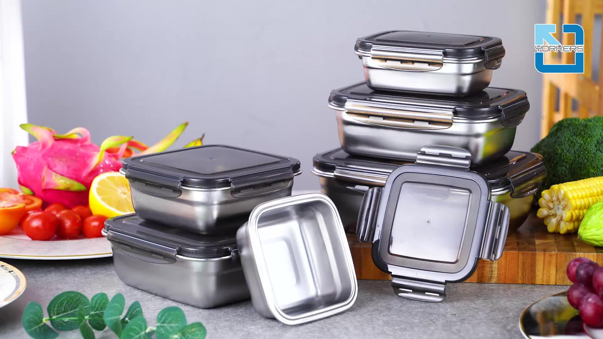 ฉนวน Airtight โลหะ Bento กล่องเก็บอาหารกลางวันสแตนเลสภาชนะบรรจุอาหาร