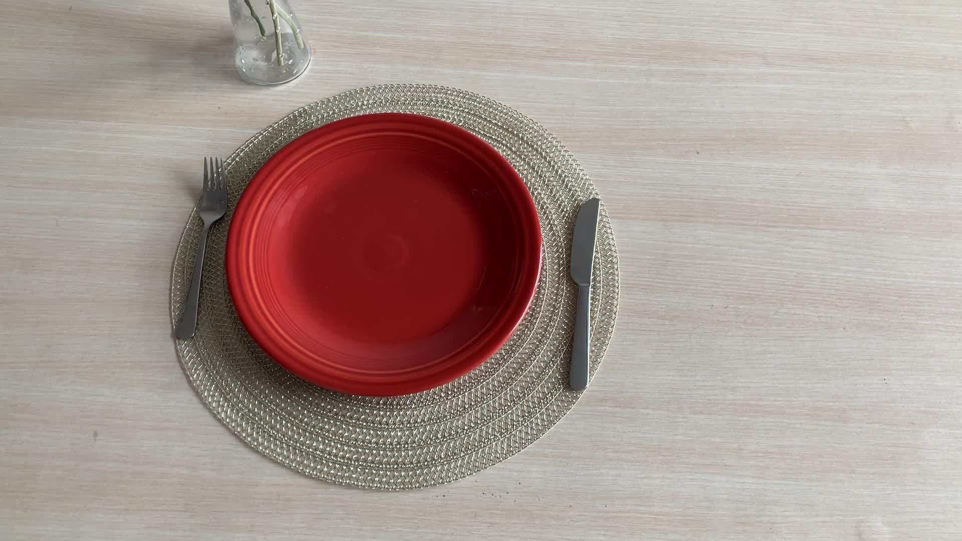Hot sale colorful pp plastic table placemats woven tray placemats