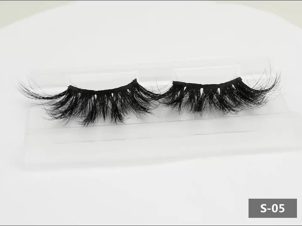 2019new hot private label minklashes 100% handmade 25mm real mink Eyelash false strip eyelashes with custom lashes box packaging