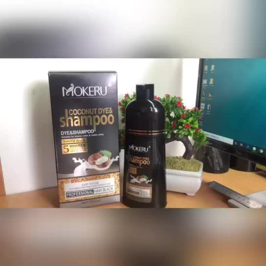 Mokeru 500ml coconut shampoo  fast magic for white hair to black with private label