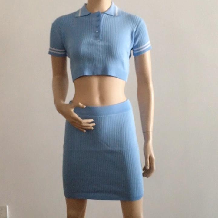 Soirée Sexy Deux Pièces Ensemble 2020 D'été Bleu Tricot Crop Top Col V Manches Courtes Et Mini Jupe Moulante Décontracté femmes Tenue