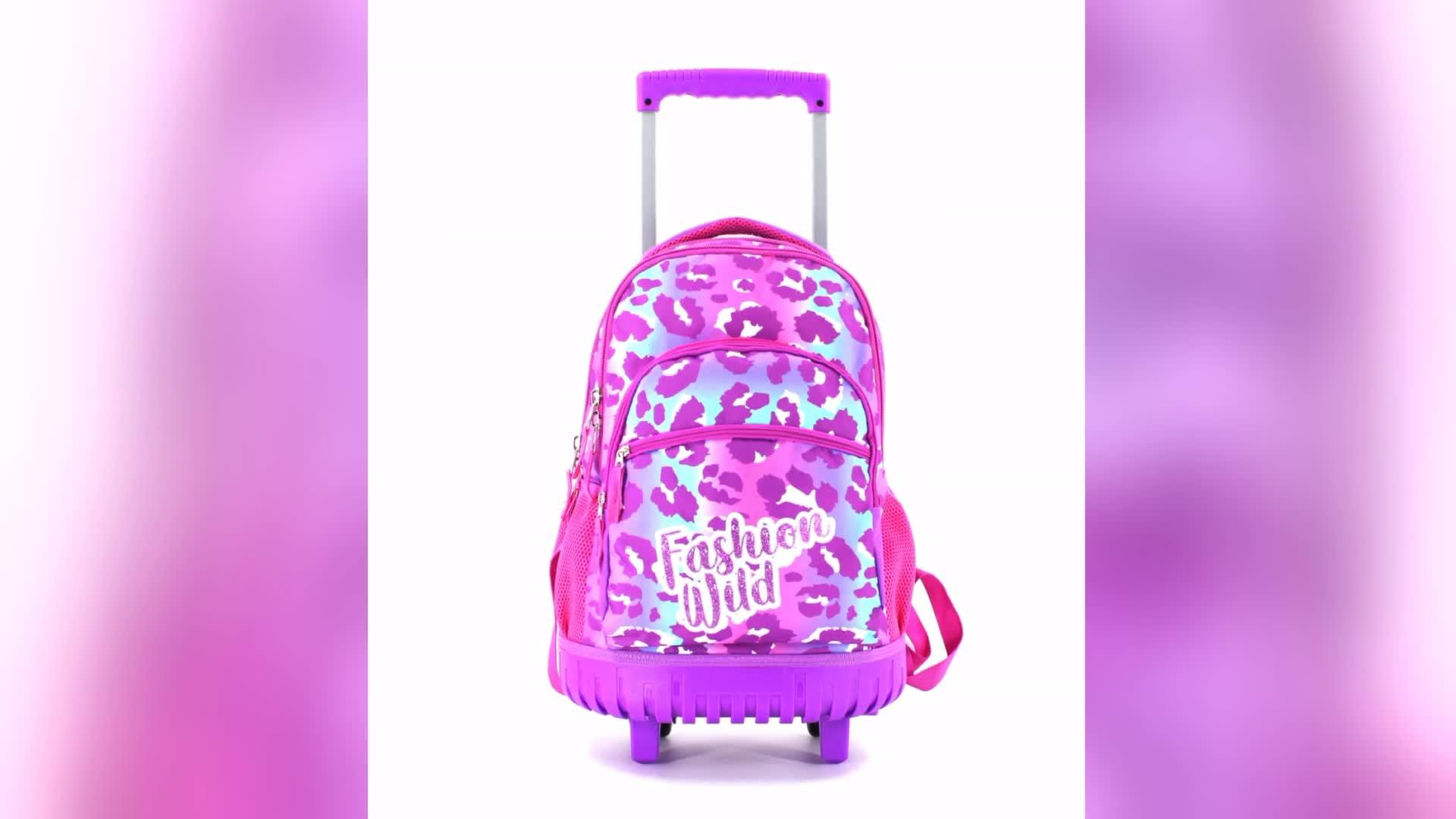 Nouveau sac à dos de sac d'école de chariot de conception avec des roues pour des enfants