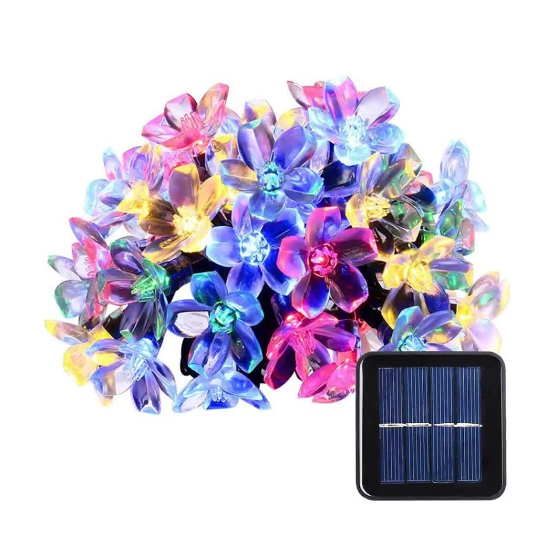 Daisy Solar String Lights: Solar Powered String Lights Waterproof Fairy Flower Peach