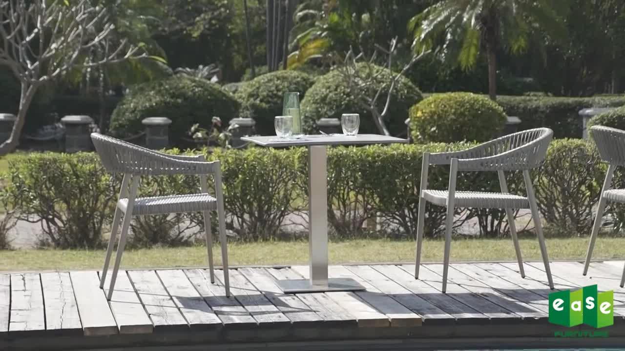 2020 nuevo estilo mejor venta moderno comedor al aire libre cuerda sillas para cafés café comedor de Metal de aluminio tejido de cuerda
