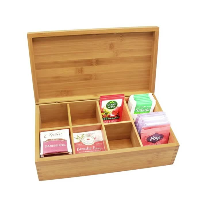 Wooden Tea Box Coffee Candy Organizer 8 Grid Storage Container Jewelry Accessories Multifunction Wood Tea Gift Store Box Vintage