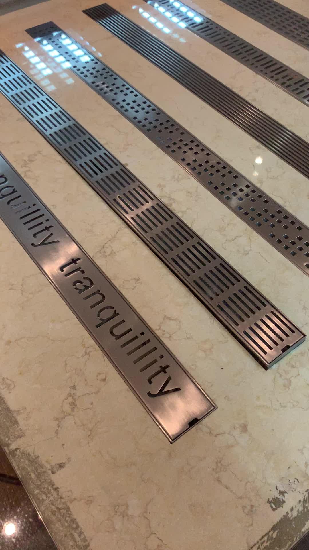 Bathroom Linear Floor Drain Shower Drain Stainless Steel Round Hole Linear Shower Channel Long Channel