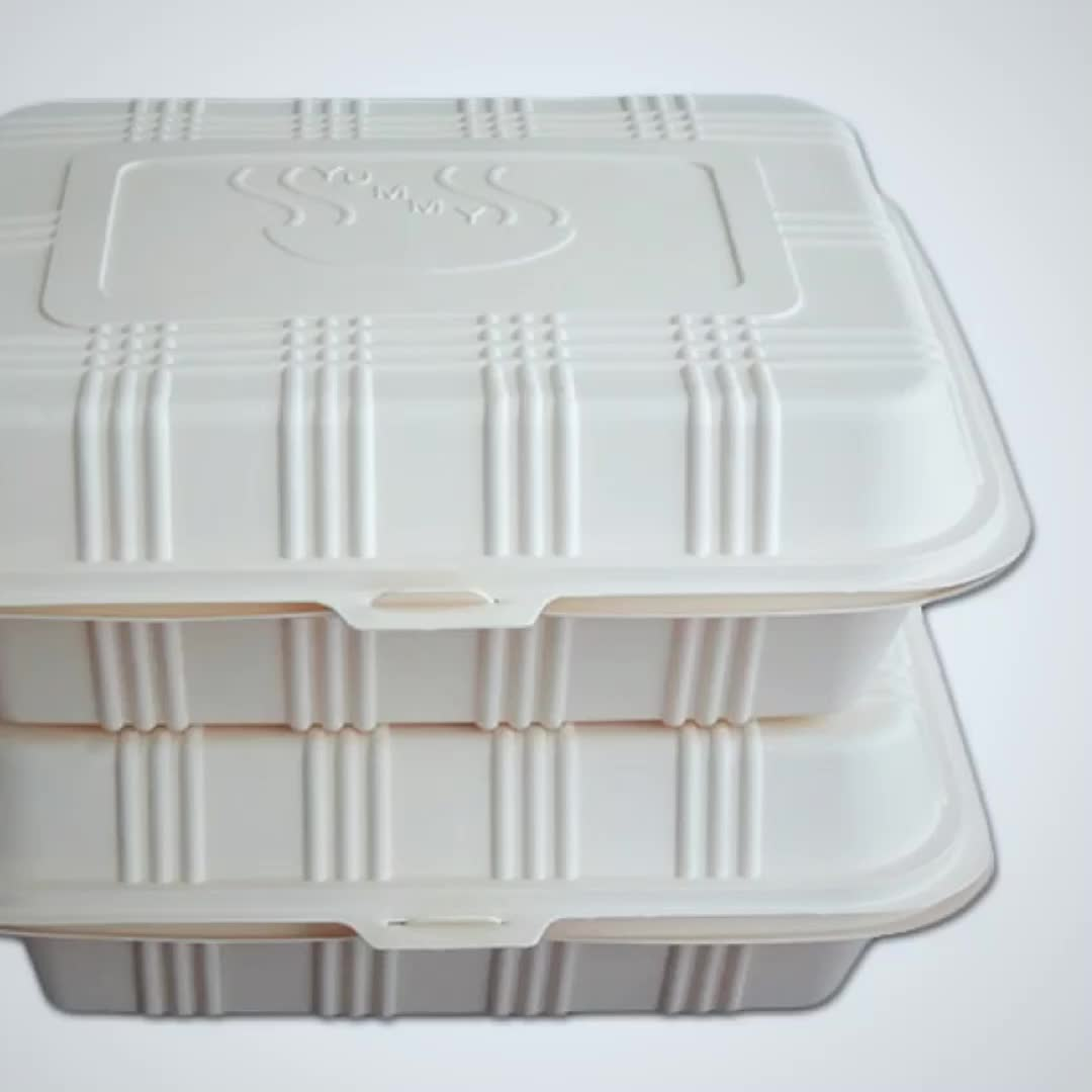 Biodegradable 1000ml Corn Starch Food Container Disposable Lunch Box