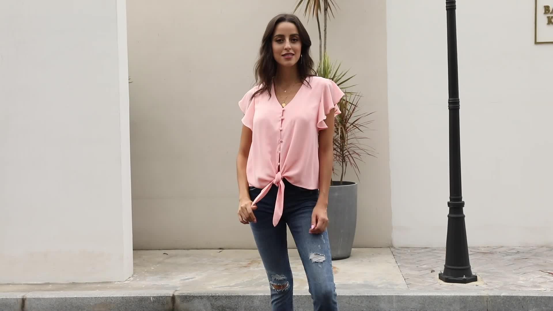 Nieuwste ontwerp casual womens kleding zomer losse tops blouse