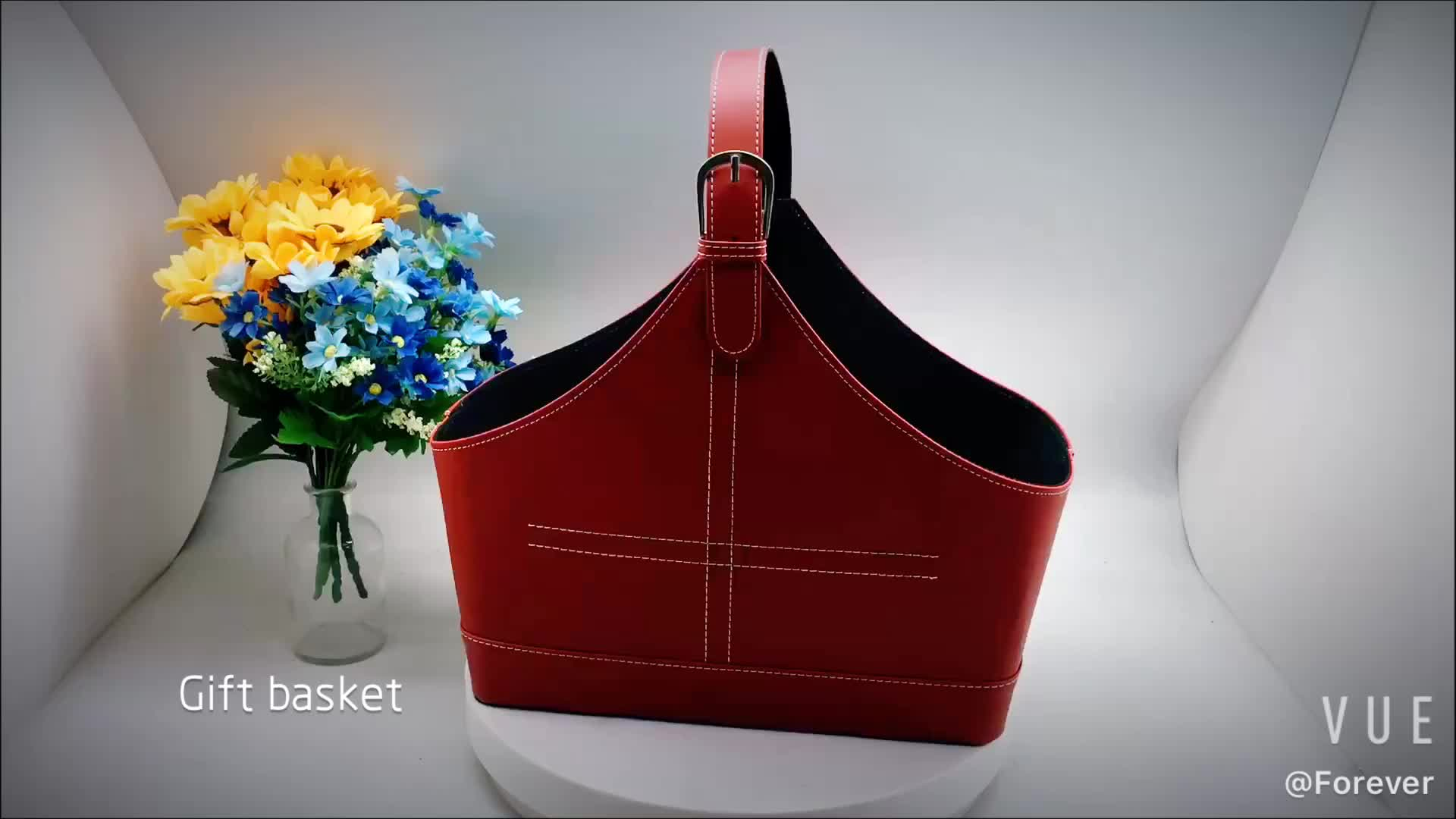 For home office use magazine and paper storage holder leather basket