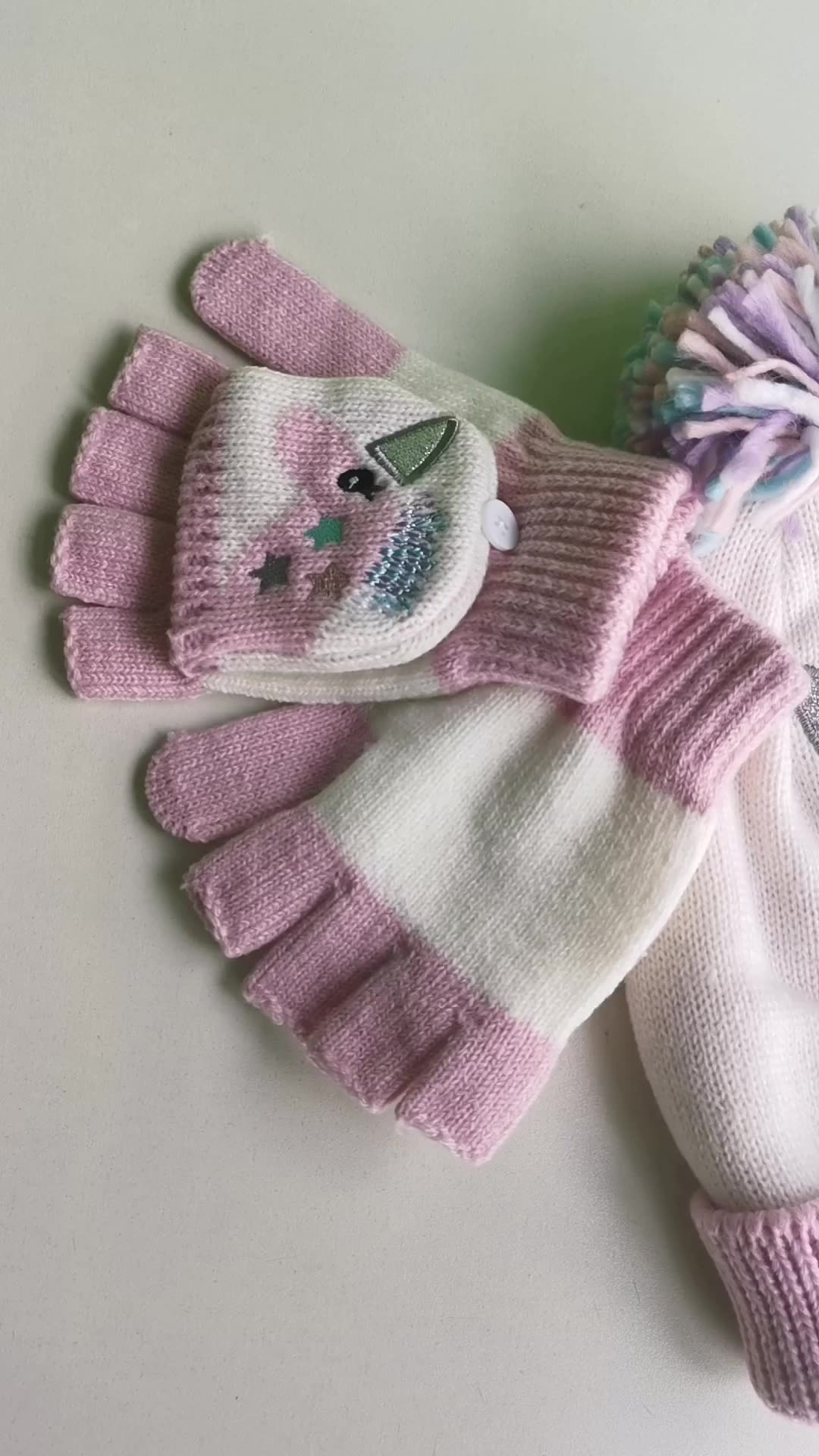 Dinozor kış şapka unicorn örme şapka ve eldiven 2 adet set çocuklar için