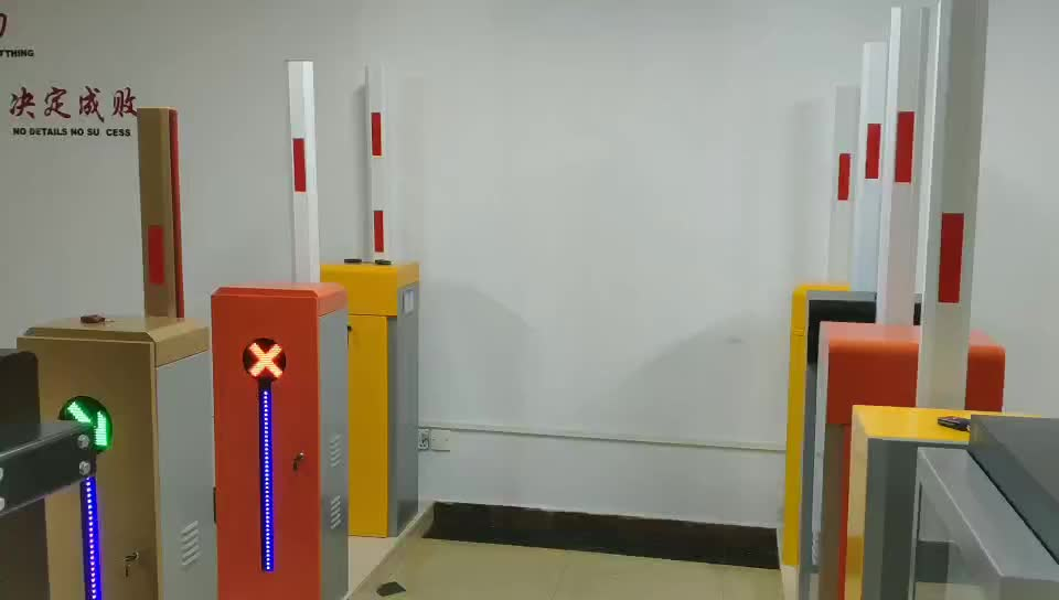 Automatic traffic car barrier entrance gate with red and green traffic light
