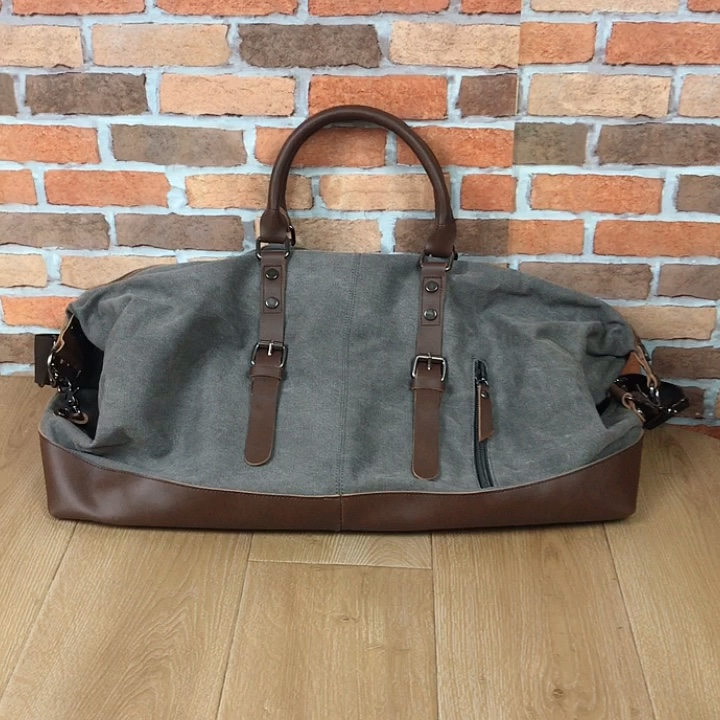 In Stock Wholesale Canvas Leather Travel Duffel Bag for Men,Outdoor Business Travel Storage Bag,Travel Sports Bag
