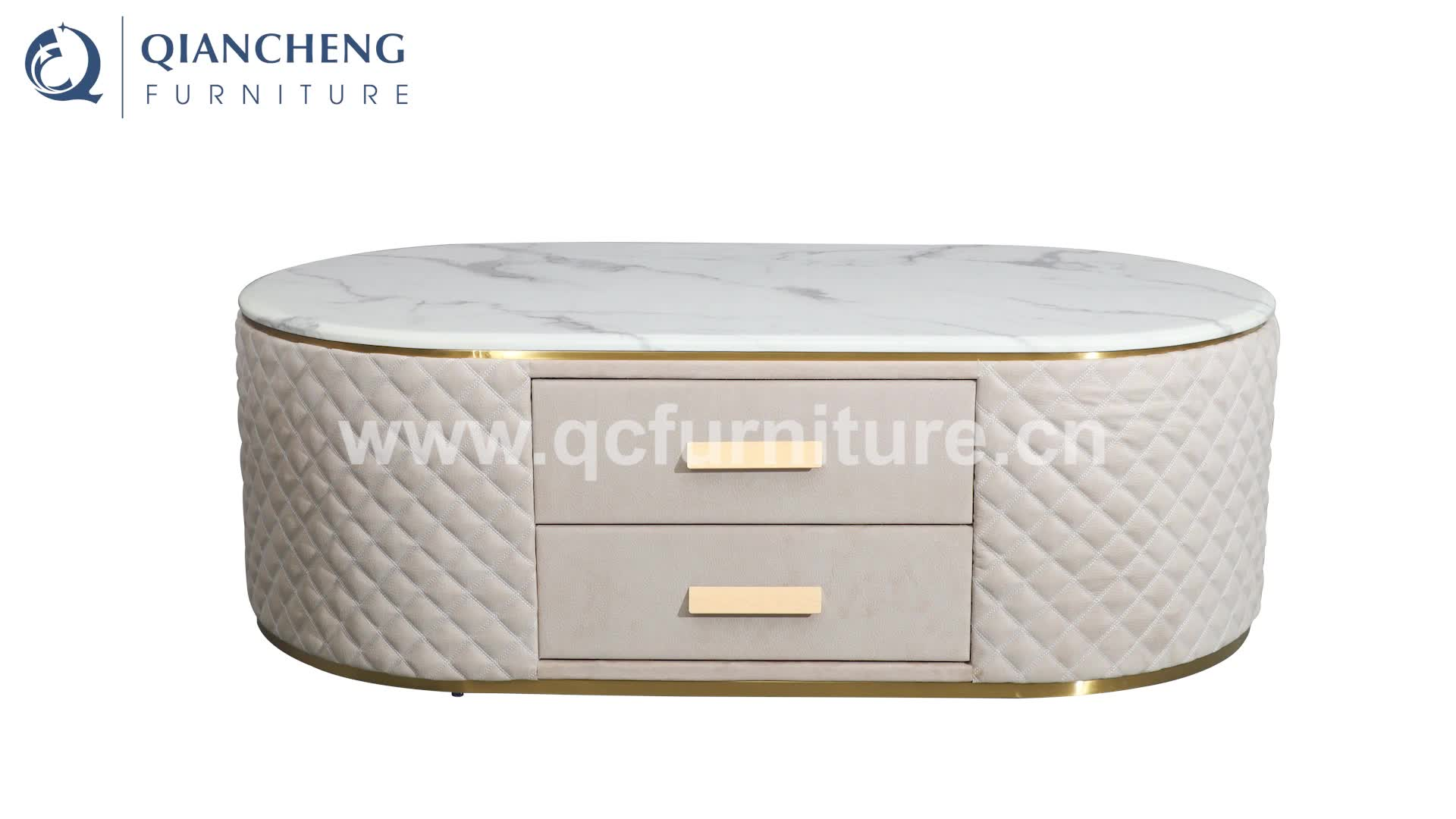 oval luxury marble tap PU cover coffee table with drawer
