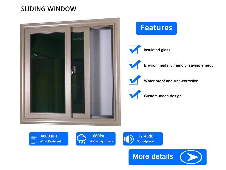 AS2047 double glazed windows aluminium frame sliding glass window with mosquito net