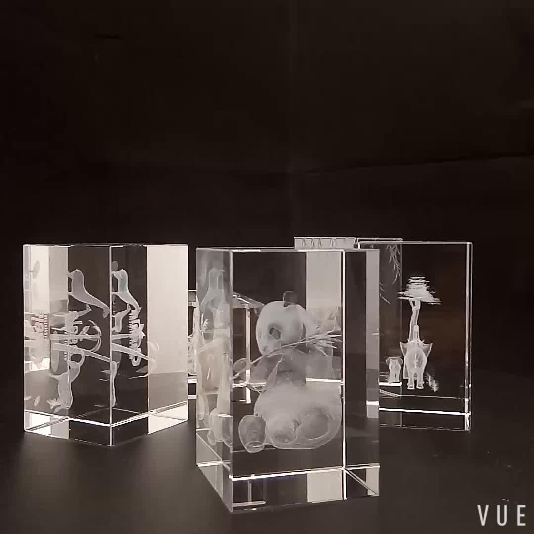 El más nuevo diseño K9 de 3D grabado láser pollo bloque cubo Animal para la decoración de la boda Souvenirs regalos