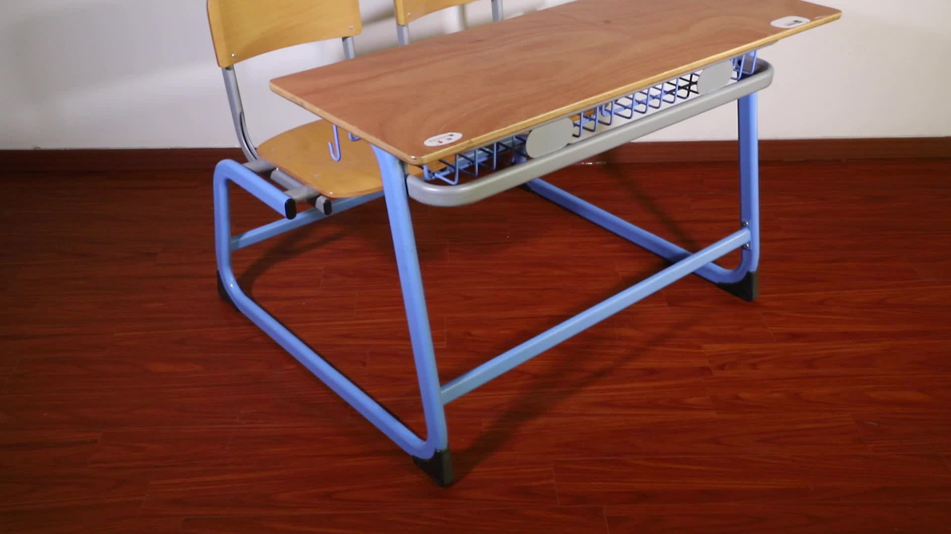 (Furniture)Double school desk and school chair ,school furniture for student /study ,classroom furniture