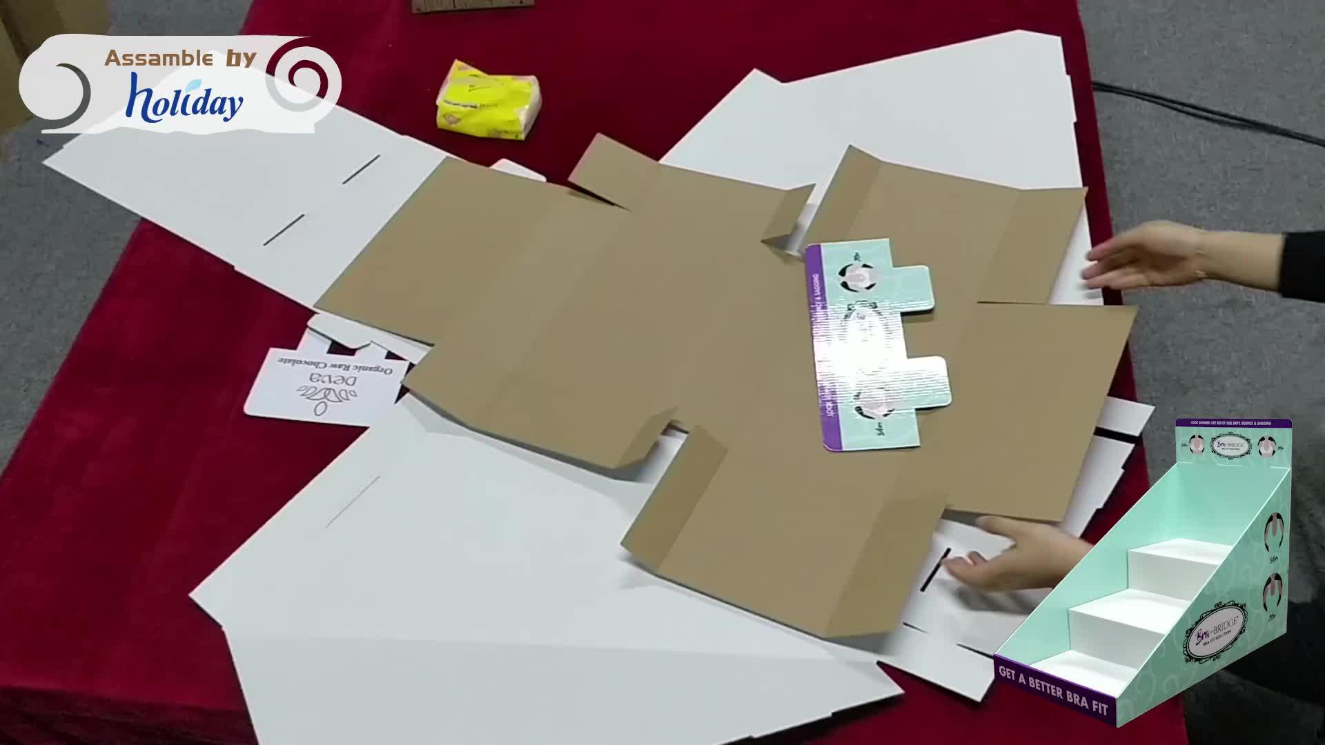 Vakantie Beha Lint Display PDQ Stand Papier Gebonden Wrap Display/Gegolfd Papier Kartonnen Aanrechtblad Displays