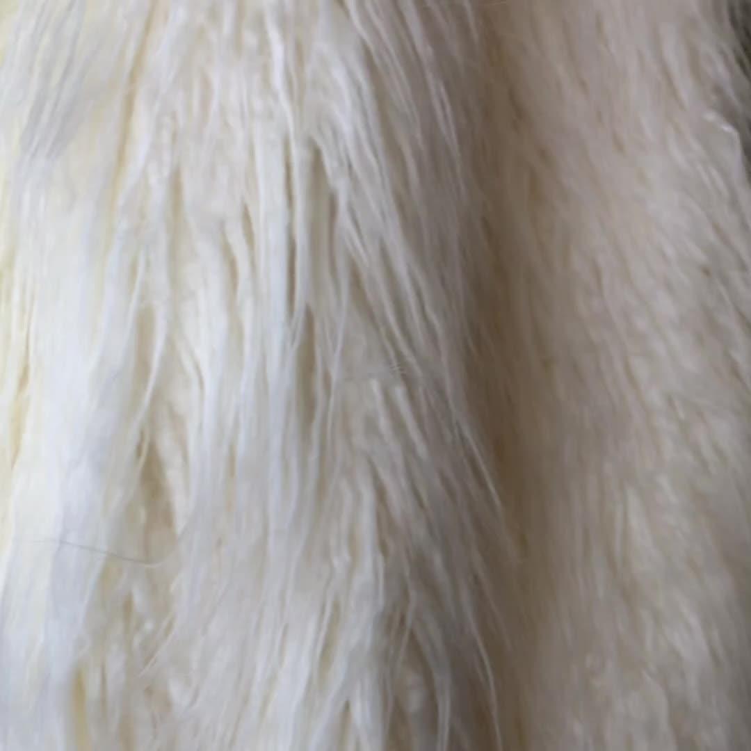 White and Pink Stripe Faux Fur Coat Lamb Fur Coat