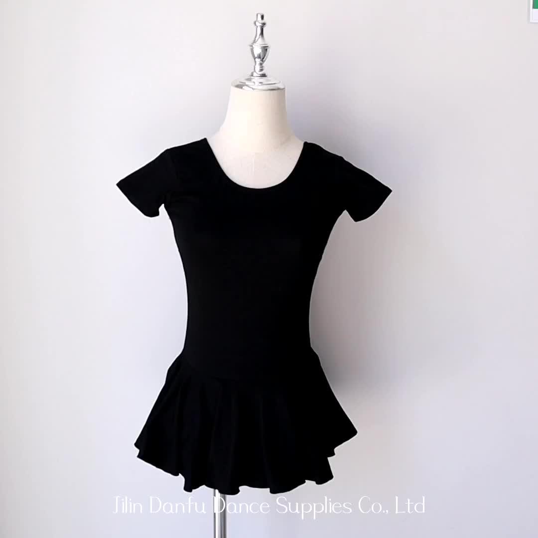 A2047 blue adult ballet cotton dress wholesale women short sleeves skirted leotards ballet dance skirted leotard