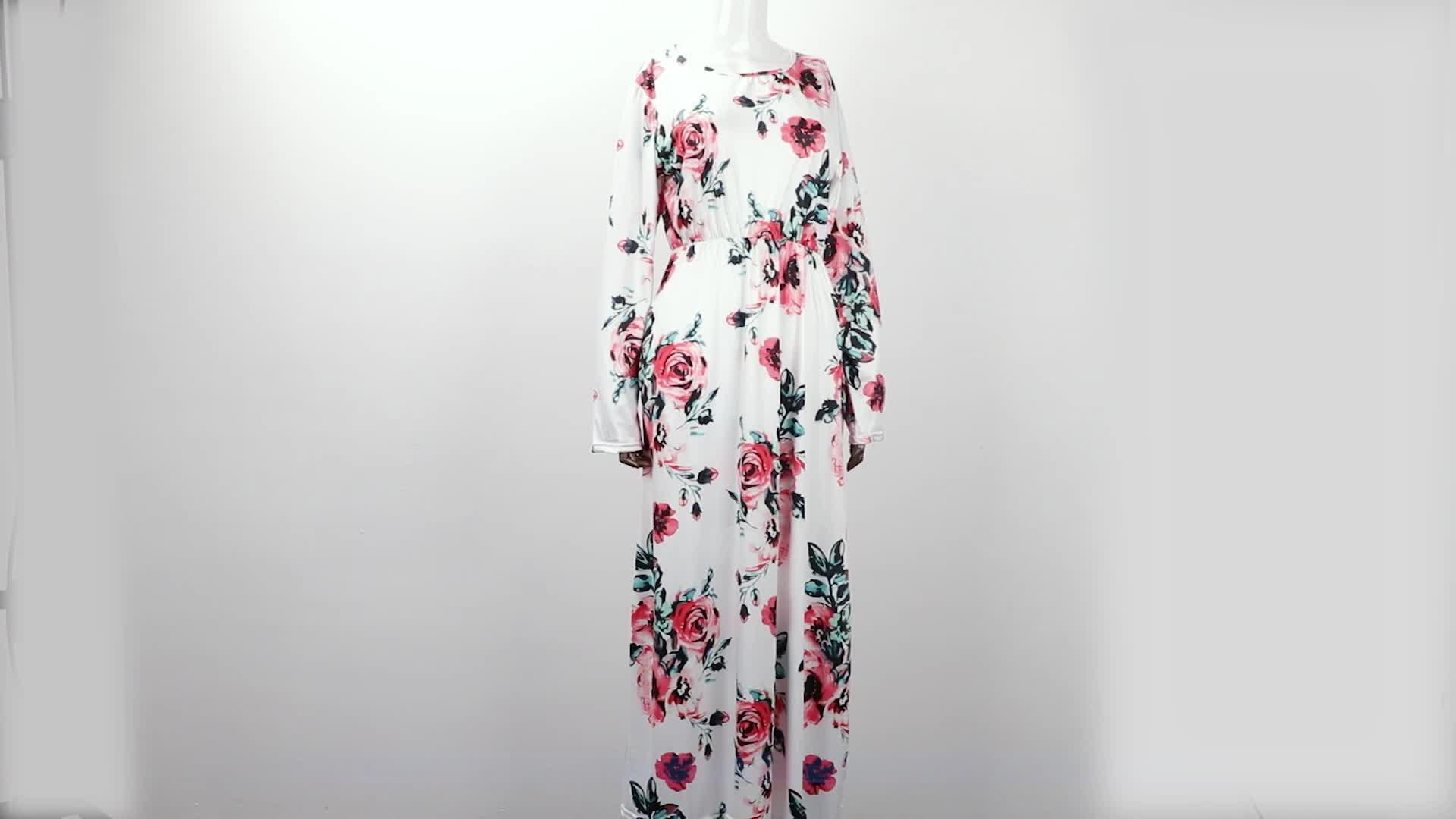 Wholesale fashion long sleeve women beach dress colorful stock Floral Long Maxi Women Dress