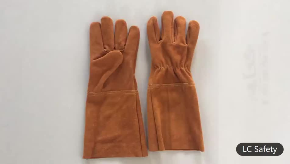 Long Brown Leather Safety Fire High Heat Resistant Grill Barbecue Gloves Handglove