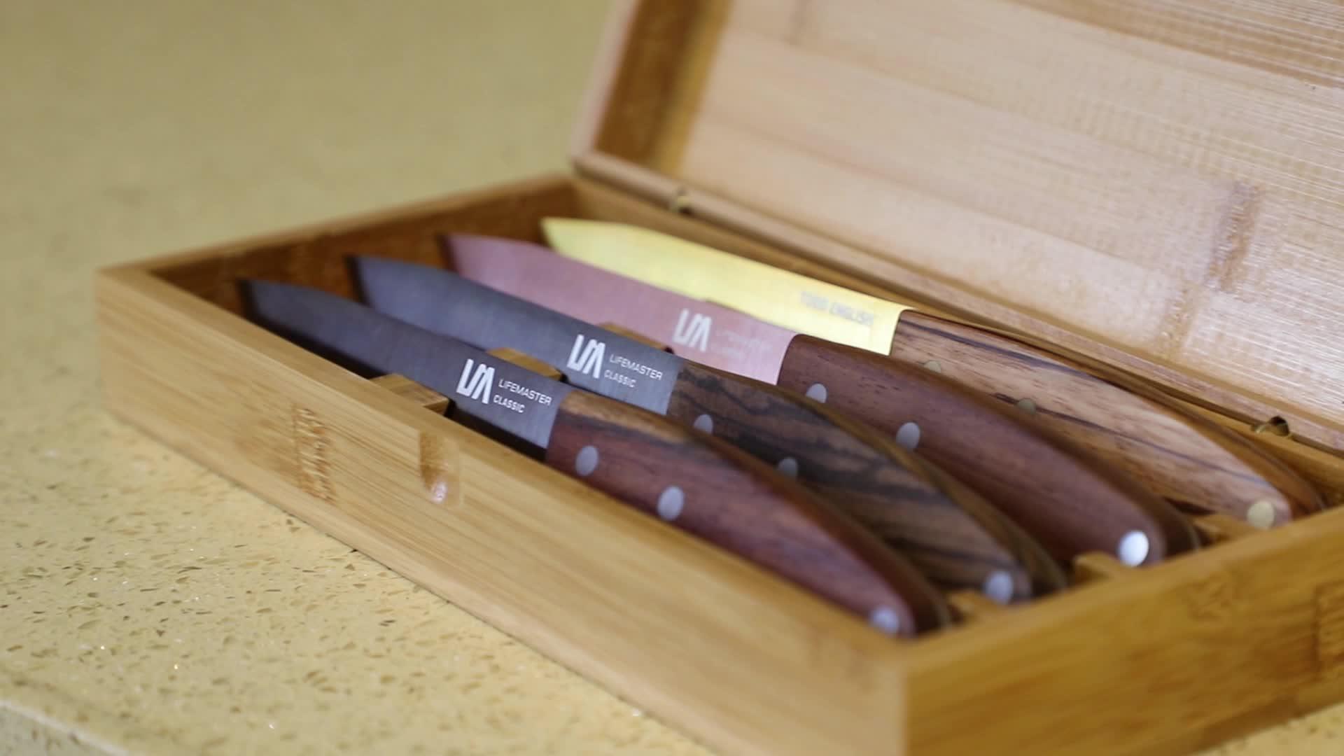 Manyetik Ahşap bıçak bloğu 14 Adet Özel Hat Bıçak Seti Japonya AUS 8 çelik bıçak takımı