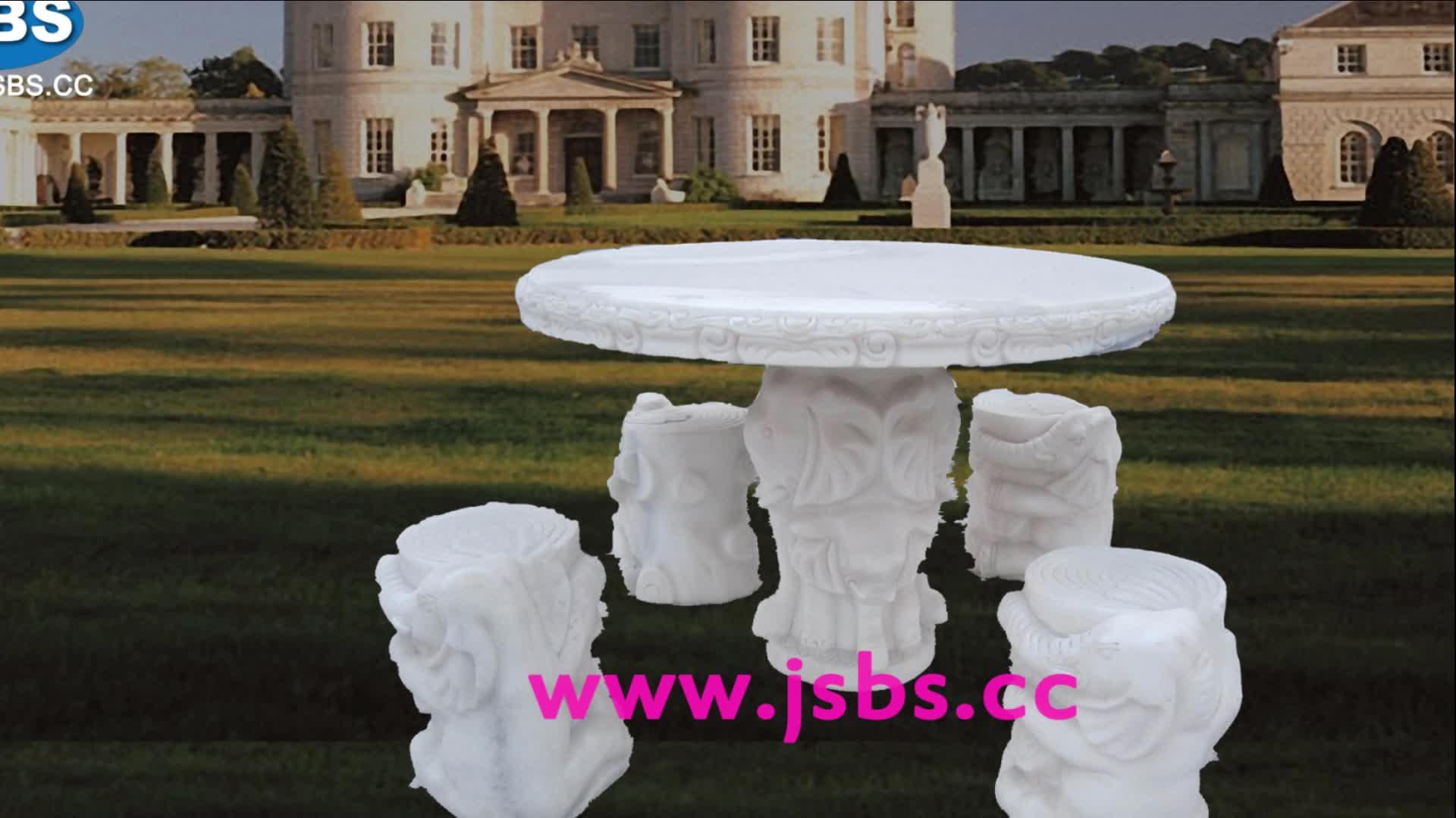 Al aire libre mármol blanco antiguo elefante tallado mesa de comedor