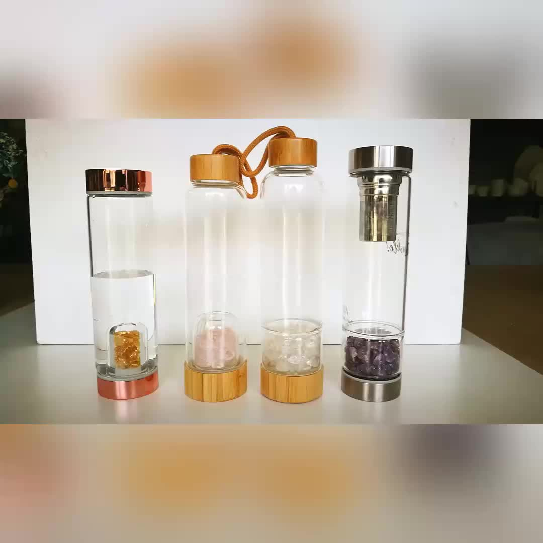 Stainless Steel Rose Gold Lid Elixir Crystal Water Bottle with Infuser