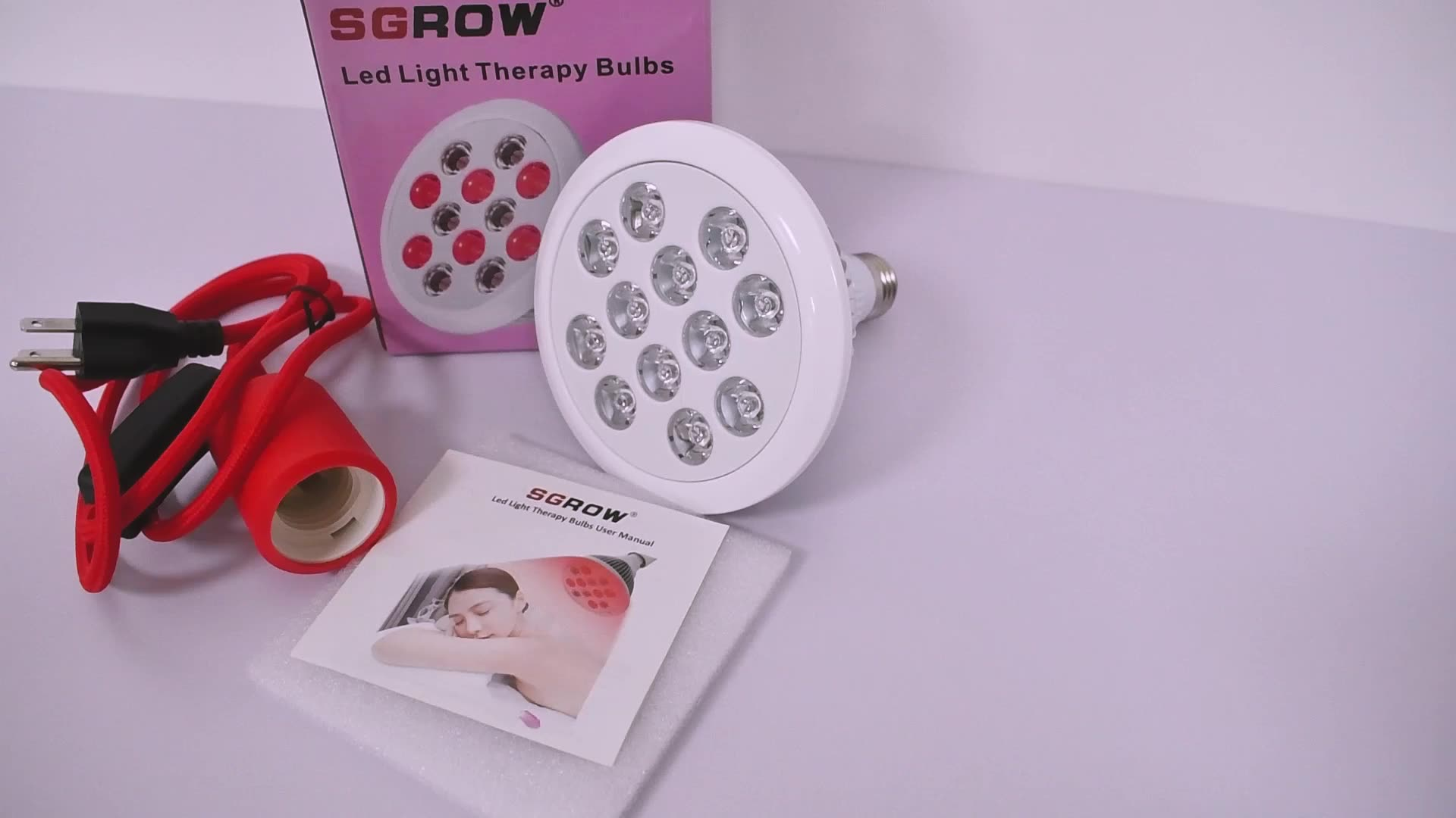Portable Handheld E27 Socket Red Led Light Bulb Therapy Lamp,Full Body 24W Red Light Therapy